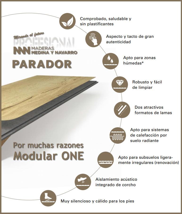 Infografía ventajas Parador Modular ONE en Maderas Medina y Navarro